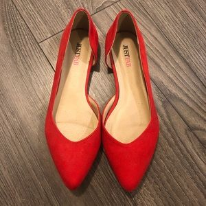 Red pointed toe flats size 6